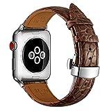 MUENShop Cinturino in Coccodrillo Compatibile con Apple Watch Cinturino di Ricambio in Vera Pelle di...