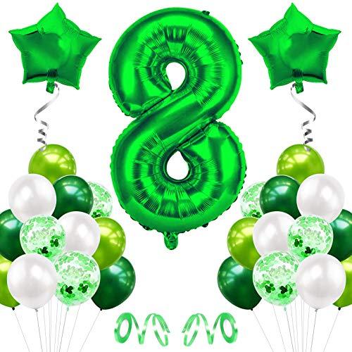Luftballons 8. Geburtstag, Kindergeburtstag Deko Jungs Mädchen 8 Jahr Ballons, Geburtstagsdeko 8 Jahr Mädchen, Deko Geburtstag 8 Jahr Jungs, Riesen Folienballon 8, Geburtstagsdeko Mädchen 8 Jahr