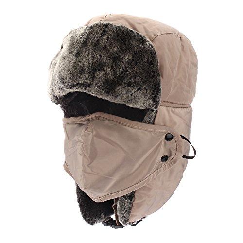 Colleer Winter Unisex Bomber Cappelli Trooper Trapper Caccia Cappelli Ushanka Russian Ear Flaps sottogola con maschera antivento per sci, pattinaggio e arrampicata cachi Taglia unica