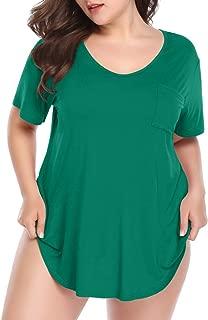 LARACE Womens Plus Size Tunic Top Short Sleeve V-Neck T Shirt with Pocket