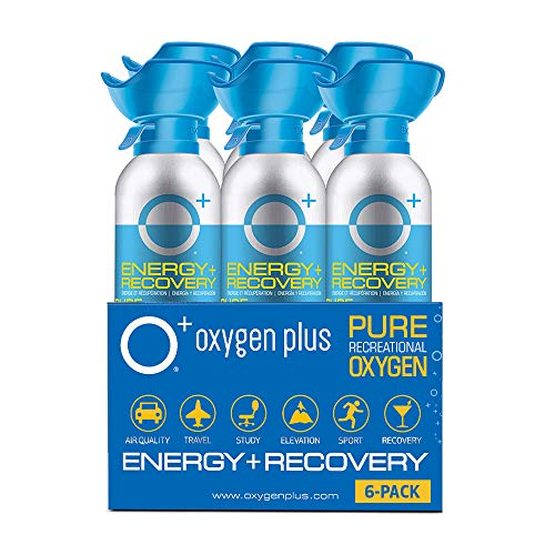 Oxygen Plus 99.5% Pure Recreational Oxygen Cans – O+ Biggi 6-Pack – Energy & Recovery – 11 Liter Cans, 50+ Uses - FDA-Registered Facility Oxygen – Canned Oxygen for Sports and Post Workout