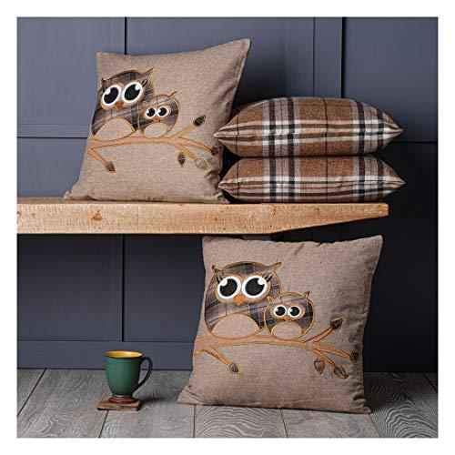 Red Rainbow Set of 4 Cute Tartan Owl & Tartan Check Brown Beige Collection 18' / 45 cm Cushion Covers