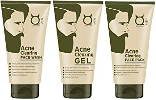Qraa Acne Therapy Kit:Acne Clearing Face wash 100 gm + Acne Clearing Face pack 100gm + Acne Clearing Gel 50gm,For Men