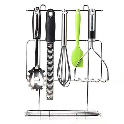 Home-X Kitchen Utensil Rack. Chrome