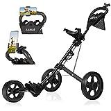 JANUS Golf Push Cart,Golf cart,Golf Pull cart for Golf Bag cart,Golf Push carts Folding with Mobile Phone Selfie Stand,Golf Accessories for Men Women/Kids