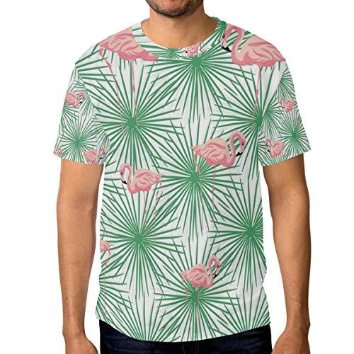 Camisetas para hombre de color rosa flamencos y verde palma hojas de verano personalizadas camisetas casual Multicolor multicolor XL