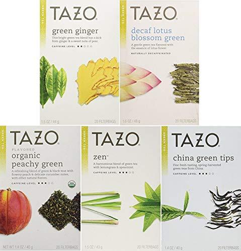 Tazo Green Tea Energizing 5 Flavor Variety Pack Sampler (Pack of 5, 100 Bags Total)