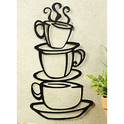Super Z Outlet Black Coffee Cup Silhouette Metal Wall...