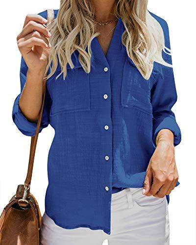 Damen-Bluse mit V-Ausschnitt, langärmelig, aufrollbare Ärmel, legere Arbeit, einfarbig, mit Taschen - Blau - Klein