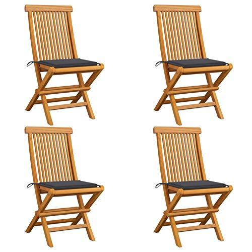 Festnight Gartenstühle mit Anthrazit Kissen 4 STK. Klappbaren Holzstühle Holz Klappstühle Balkonstuhl Gartenstuhl Outdoor Gartenstuhl Massivholz Teak