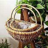 BHSHUXI 2 paquetes de macetas colgantes para valla de pared, cesta colgante tejida hecha a mano, cesta de almacenamiento de mimbre natural para el hogar y el jardín