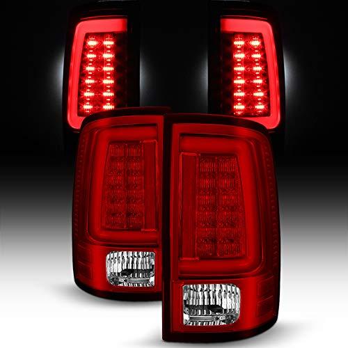 For [C-Shape LED Light Lube] 2009-2018 Dodge Ram Pickup Truck (DS/DJ/D2) v2 Red Clear Tail Lights Rear Brake Lamps Left+Right