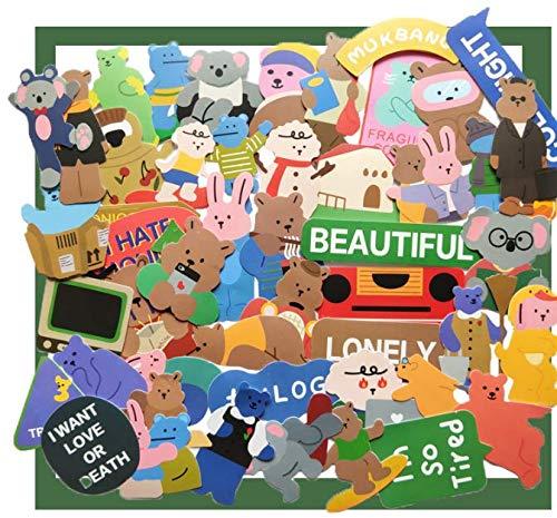 Korea Colored Bear'S Daily Waterproof Handbook Sticker Stationery Tablet Phone Case Power Bank Sticker 50Pcs