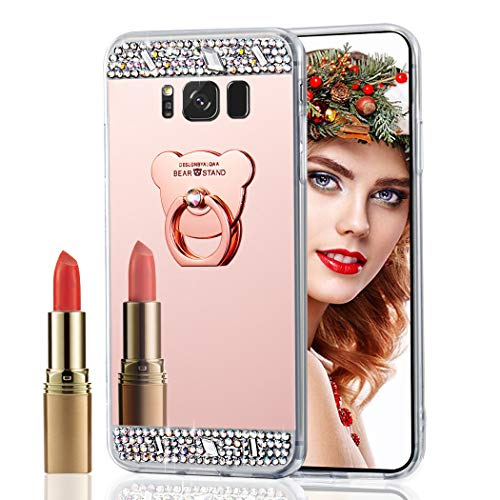 LEECOCO Galaxy S8 Plus Case, Bling Glitter Crystal Diamonds Mirror Makeup Case Soft TPU Protective Case Cover with Cute Bear Ring Kickstand for Samsung Galaxy S8 Plus Bear Ring Mirror Rose Gold