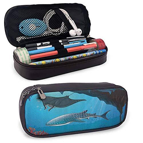 Sea Animal Decor Lightweight Pencil Bag Shark Deep Water Stingray with Coral Reefs Algae Rocky Cave Exotic Cartoon Cute Accessories Blue Grey