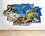 Diuangfoong Vinilo decorativo para pared con diseño de peces de acuario, océano, mar, coral, 3D, 130 x 90 cm
