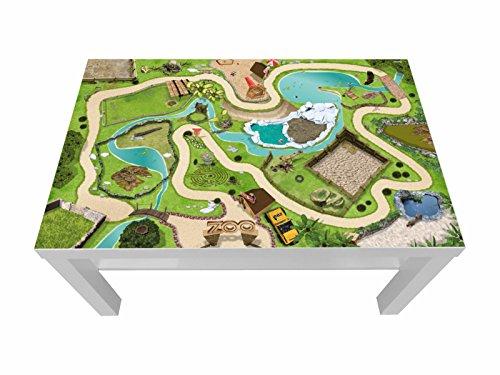 Tierpark/Zoo Möbelfolie/Aufkleber - LCK04 - passgenau für den Lack Couchtisch (90 x 55 cm) von IKEA - In wenigen Minuten zum einzigartigen Spieltisch für Kinder! (Möbel Nicht inklusive)