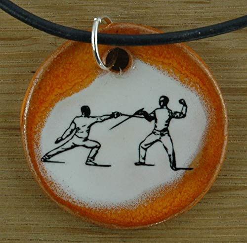 Echtes Kunsthandwerk: Toller Keramik Anhänger Fechten; Fechtsport, Degen, Sport, Verein, schlagende Verbindung, Studenten