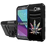 [NakedShield] [Black/Black] Total Defense Armor Case [Kickstand] [Holster] - [Color Weed] Compatible for Samsung Galaxy [2017] [J3 Emerge] [5' Screen]