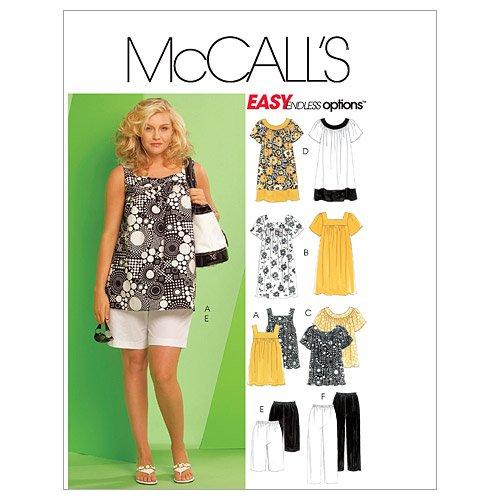 McCall's Patterns M5640 Women's Tops, Dresses, Shorts and Capri Pants, Size RR (18W-20W-22W-24W)