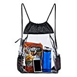 Clear Drawstring Bag - PVC Drawstring Backpack with Mesh Side Pockets for School, Music Festivals, Sporting...