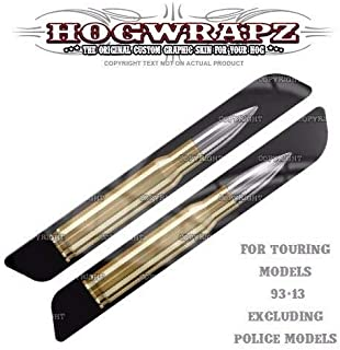 Billion_Store HogWrapz - Harley 93-13 Saddlebag Latch Reflector Insert Cover Set 50 Cal Bullet Cool Tuning