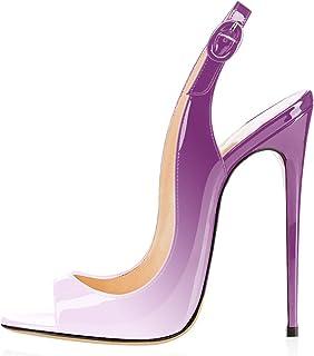 06798c284ec6 elashe - Scarpe da Donna - Peep Toe Slingback Sandali - Tacco a Spillo con  Cinturino