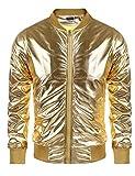 Coofandy Men's Metallic Style Baseball Varsity Bomber Jacket For Party,Nightclub,Halloween,Golden,Large