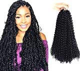 7 Packs 18 Inch Toyotress Passion Twist Hair Water Wave Crochet Braids Hair for Passion Twist Synthetic Crochet Hair Passion Twist Synthetic Braiding Hair Hair Extensions (18'' 7Packs, 1B)