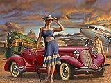 XCMDSM Chica del Coche Pintar por numeros DIY Conjunto Completo de Pinturas Pintura al óleo de Bricolaje Adultos Principiantes y niños con Decoraciones para el Hogar 40x50 cm(Sin Marco)
