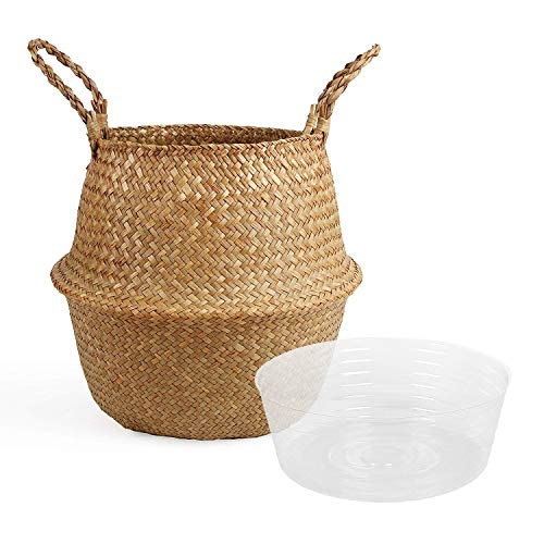 Big Save! BlueMake Woven Seagrass Belly Basket with Handles for Storage Plant Pot Basket and Laundry...