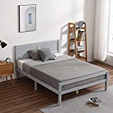 Bonnlo Gray Wooden Slatted Bed with Headboard and Foot End, Small Double Solid Wood Bed Frame for Adults, Kids, Teenagers, 4FT