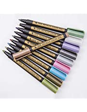 Metallic Marker Pens, Set of 10 Assorted Colours Painting Pens Art Marker for Card Making, Scrapbooking, DIY Photo Album, Plastic, Glass, Metal, Wood, Stone, Clothes and Pottery