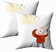 Shorping Decorative Pillow Covers, Pillow Cases Autumn Pillow Covers 18X18Inch Set of 2 Throw Pillow Covers Retro Cartoon Man Eating Donuts Bed Pillow Coverss for Home