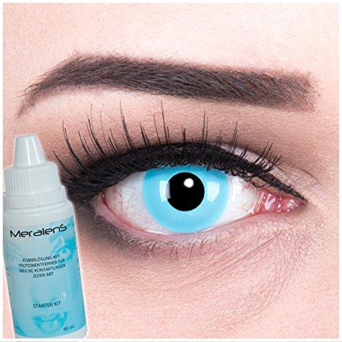 Farbige hellblaue Crazy Fun Kontaktlinsen Sky Angel mit gratis Linsenbehälter + 60ml Pflegemittel, Topqualität zu Fasching, Karneval und Halloween