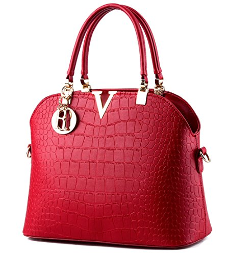 JHVYF Women Claissic Top Handle Handbag Crossbody Casual Purse Satchel Tote Wine Red