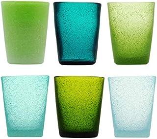 Memento Lot de 6 verres à eau en verre coloré fantaisie Jade