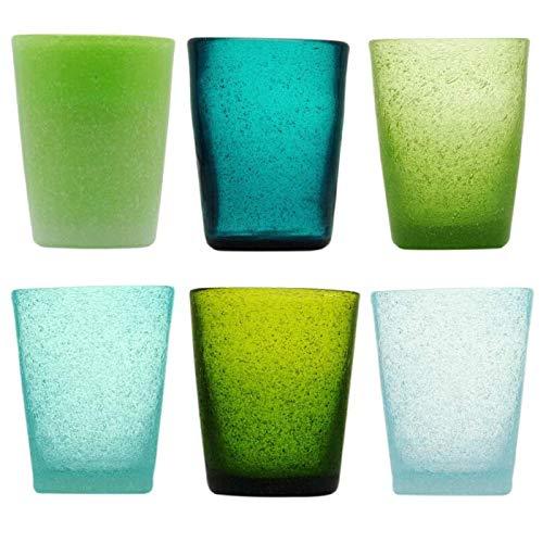 Memento Set 6 Bicchieri da Acqua in Vetro colorato Fantasia Giada