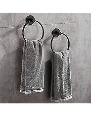 Wopeite Zelfklevende Handdoek Ring Rvs Handdoekhouder Wandmontage Roestvrij voor Badkamer Accessoires Chrome Zwart 2 Pack