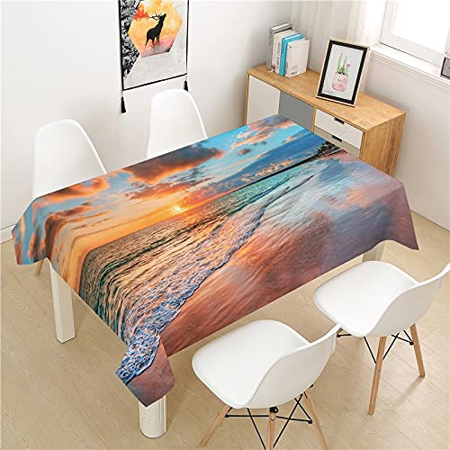 XXDD Beautiful seaside view tablecloth table cover picnic table rectangular table cover washable home table decoration tablecloth A6 135X135CM