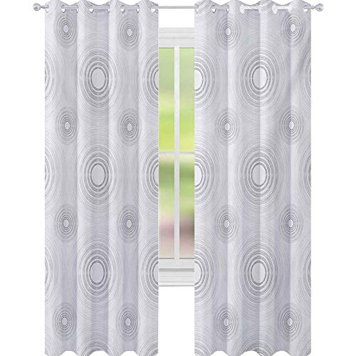 YUAZHOQI Grey Window Curtain Spiral Contoured Diagonal Circular Small and Large Lines Gradient Sketchy Design Print 52' x 84' Noise Reducing Curtain White