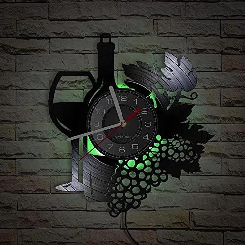 Nzlazbc Botella de Vino con Copa de Vino Racimo de UVA Disco de Vinilo Reloj de Pared Bar en casa Decoración de Bodega Cocina Bodegón Reloj de álbum de Vinilo