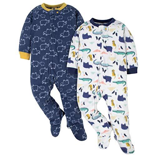 Gerber Baby Boys' 2-Pack Blanket Sleeper, Grey Zoo & Rhino, 18 Months