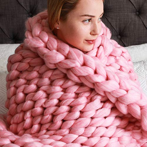 Roore 50'x60' Pink Chunky Knit Blanket for Decoration Made from Acrylic Polyester | Excellent Soft Throw Blanket Perfect Home Decore for The Bed, Couch, and Living Room (Pink Yarn, 50'x60')