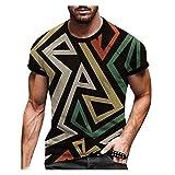 Photo de t Shirt Sport t Shirt Homme Original Tee Shirt Homme Top Mode décontractée pour Hommes à Manches Courtes Impression rétro Printemps et été (S,5Multicolore)