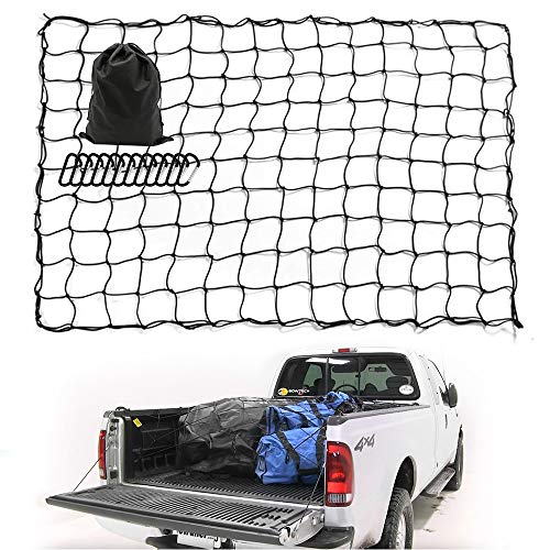 4'x6' Super Duty Bungee Cargo Net Stretches to 8'x12' for Truck Bed &Oversized Rooftop Cargo Rack | Narrow 4'x4' Mesh Holds Small & Large Loads Tighter | $12 Tangle-Free $