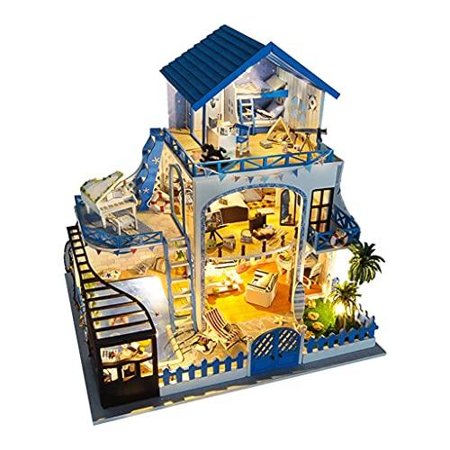 Hellery Luz LED en Miniatura casa de muñecas Mar Egeo con Muebles puzle romántico niñas Festival Regalo de Cumpleaños 7 años de Edad