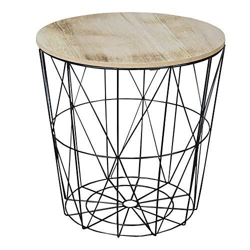 Table d'appoint à panier grillagé et plateau en bois.