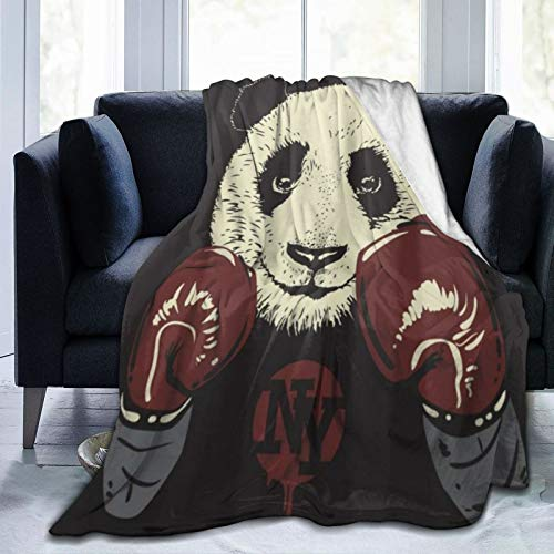 KOSALAER Bedding Manta,Fondo de Guantes de Boxeo Panda,Mantas cálidas de Sala de Estar/Dormitorio Ultra Suaves para Todas Las Estaciones