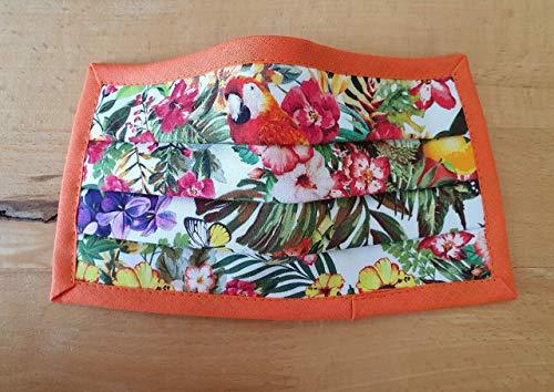 Mund- und Nasen- Maske in tropischem Blumendesign (weiß) waschbar (Handmade in Germany)